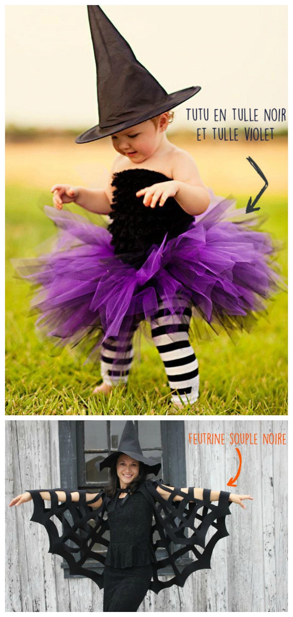 halloween, tutu enfant réalisé en tulle violet et tulle noir pour confectionner un déguisement de sorcière. Une cape toile d'araignée à porter sur une petite robe noire, un déguisement classe et efficace, original.