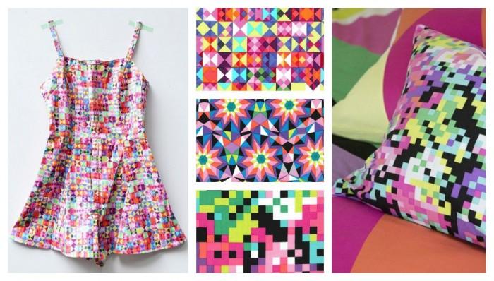 mix graphique, tetris, space invaders colorés, petite combishort adorable