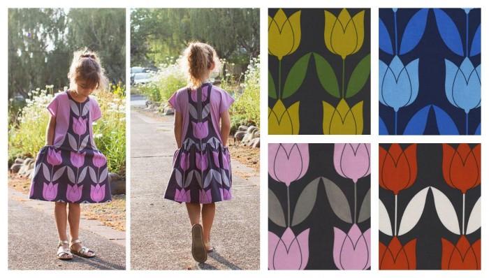 d'énormes tulipes pour confectionner petites robes, jupes, tops ou accessoires déco comme des coussins
