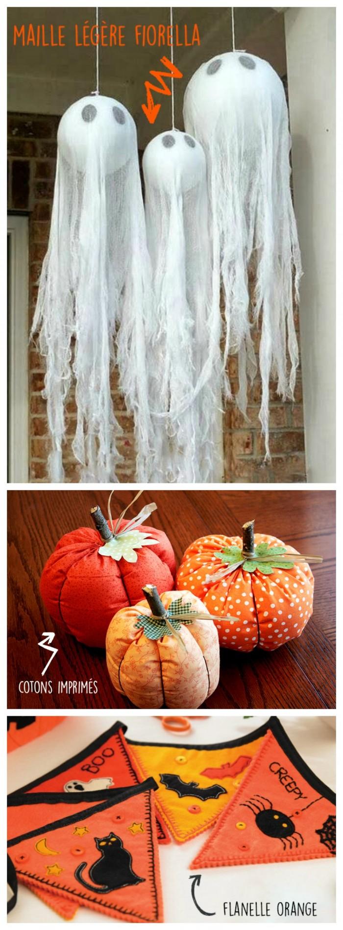 Des fantômes pour orner votre entrée ou à accrocher au dessus de votre table d'halloween pour un effet bluff. Avec de la ouate, confectionnez des petites citrouilles pour réaliser un centre de table ou des marque-places. Une surprise party pour enfant ? Créez des fanions personnalisés !