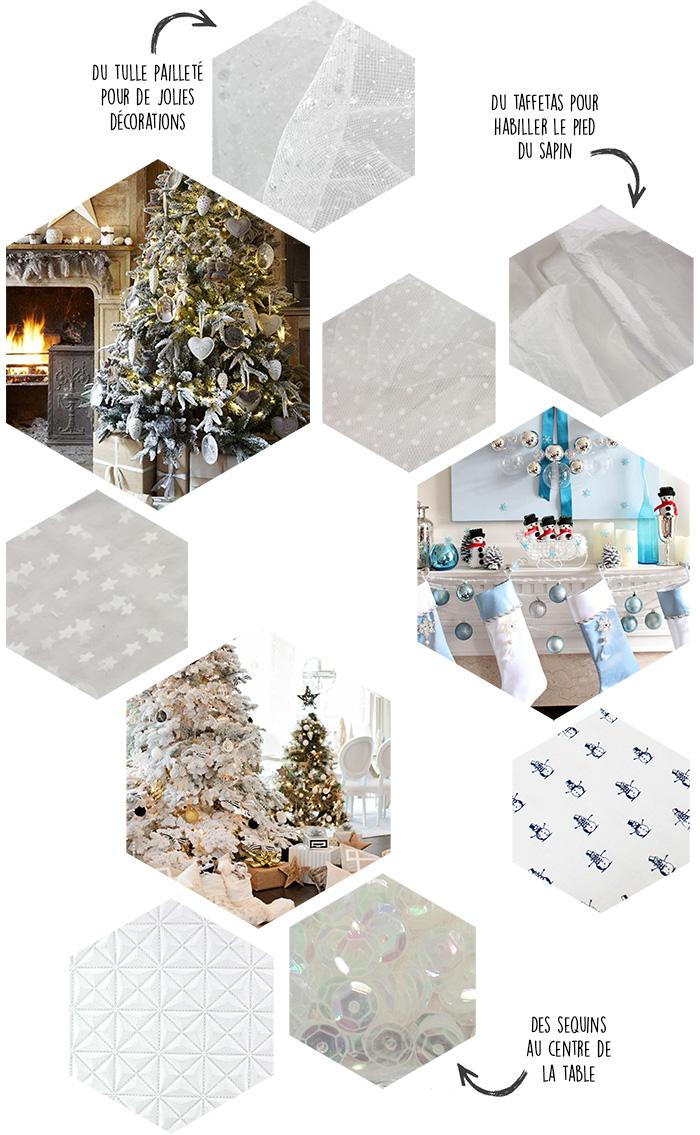 Les flocons tombent silencieusement, les lumières des maisons scintillent sur la neige au dehors. Ce Noël pourrait être placé sous les couleurs de l'hiver, du blanc, des tons irisés, du bleu glacier...Habillez le pied du sapin de taffetas satiné, décorez votre chemin de table de sequins irisés, nouez les étiquettes aux cadeaux avec de l'organza fin, nappez la table d'un piqué de coton blanc immaculé...