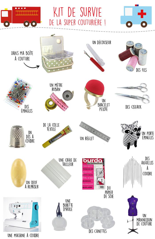 kit de survie de la couturière, tous les accessoires de couture indispensables à toute bonne passionnée de couture : fils, ciseaux, machine à coudre, craie, découseur,...